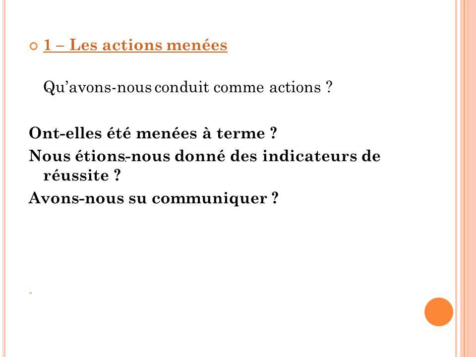 1 – Les actions menées Qu'avons-nous conduit comme actions ? Ont-elles été menées à terme ? Nous étions-nous donné des indicateurs de réussite ? Avons
