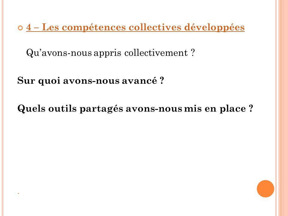 4 – Les compétences collectives développées Qu'avons-nous appris collectivement ? Sur quoi avons-nous avancé ? Quels outils partagés avons-nous mis en