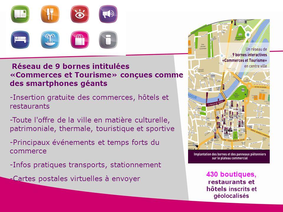 16 Réseau de 9 bornes intitulées «Commerces et Tourisme» conçues comme des smartphones géants -Insertion gratuite des commerces, hôtels et restaurants