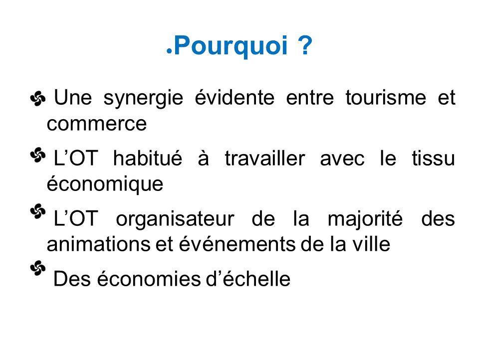 ● Pourquoi ? Une synergie évidente entre tourisme et commerce L'OT habitué à travailler avec le tissu économique L'OT organisateur de la majorité des