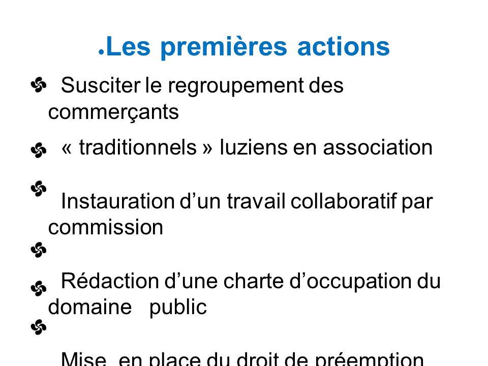 ● Les premières actions Susciter le regroupement des commerçants « traditionnels » luziens en association Instauration d'un travail collaboratif par c