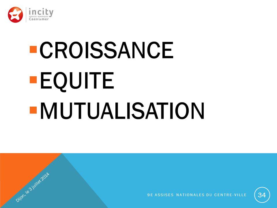  CROISSANCE  EQUITE  MUTUALISATION Dijon, le 3 juillet 2014 9E ASSISES NATIONALES DU CENTRE-VILLE 34