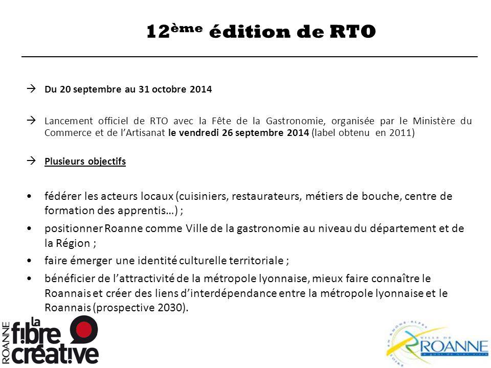 12 ème édition de RTO  Du 20 septembre au 31 octobre 2014  Lancement officiel de RTO avec la Fête de la Gastronomie, organisée par le Ministère du C