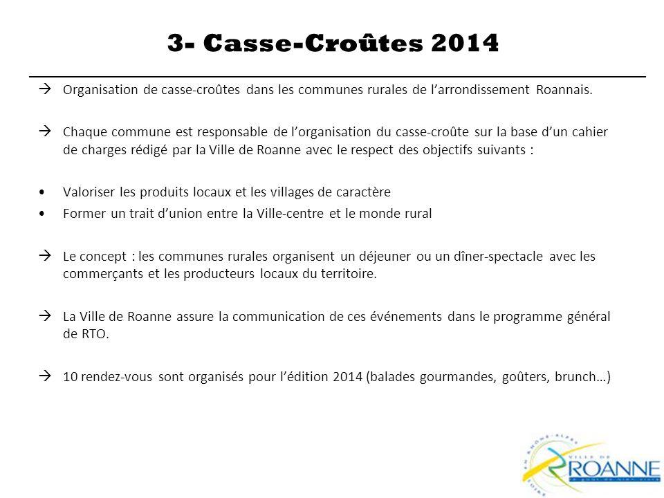  Organisation de casse-croûtes dans les communes rurales de l'arrondissement Roannais.  Chaque commune est responsable de l'organisation du casse-cr