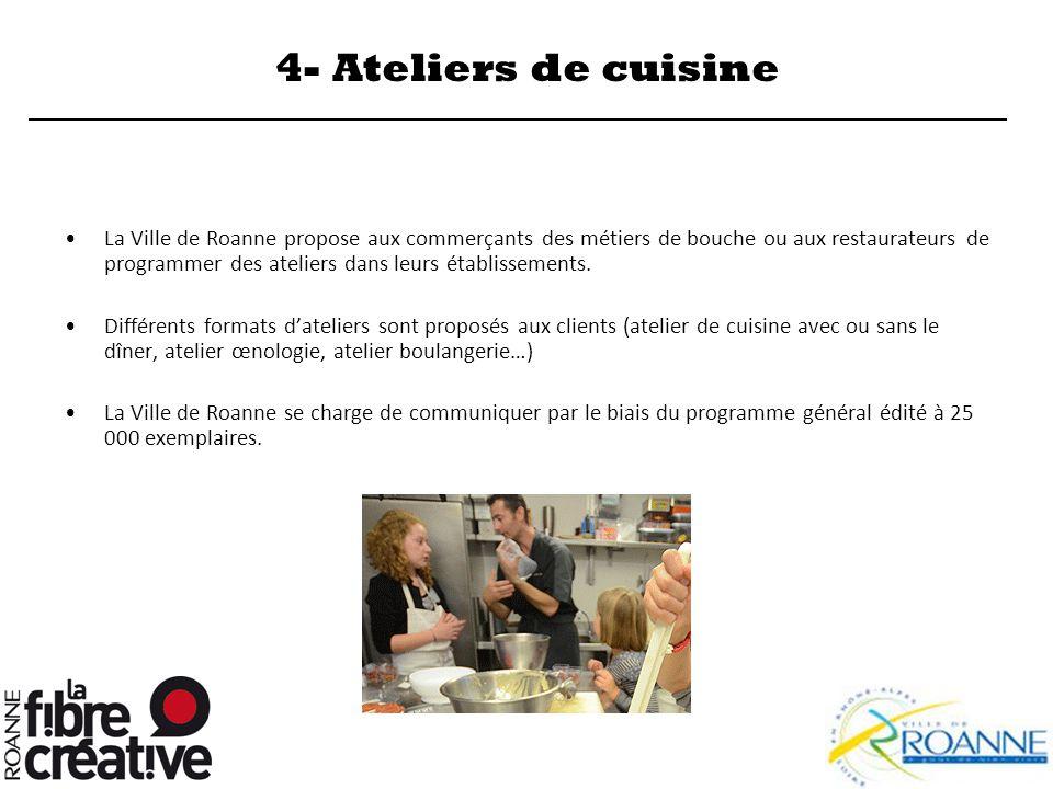 4- Ateliers de cuisine La Ville de Roanne propose aux commerçants des métiers de bouche ou aux restaurateurs de programmer des ateliers dans leurs éta