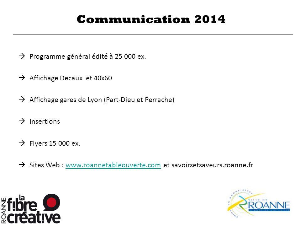 Communication 2014  Programme général édité à 25 000 ex.  Affichage Decaux et 40x60  Affichage gares de Lyon (Part-Dieu et Perrache)  Insertions 