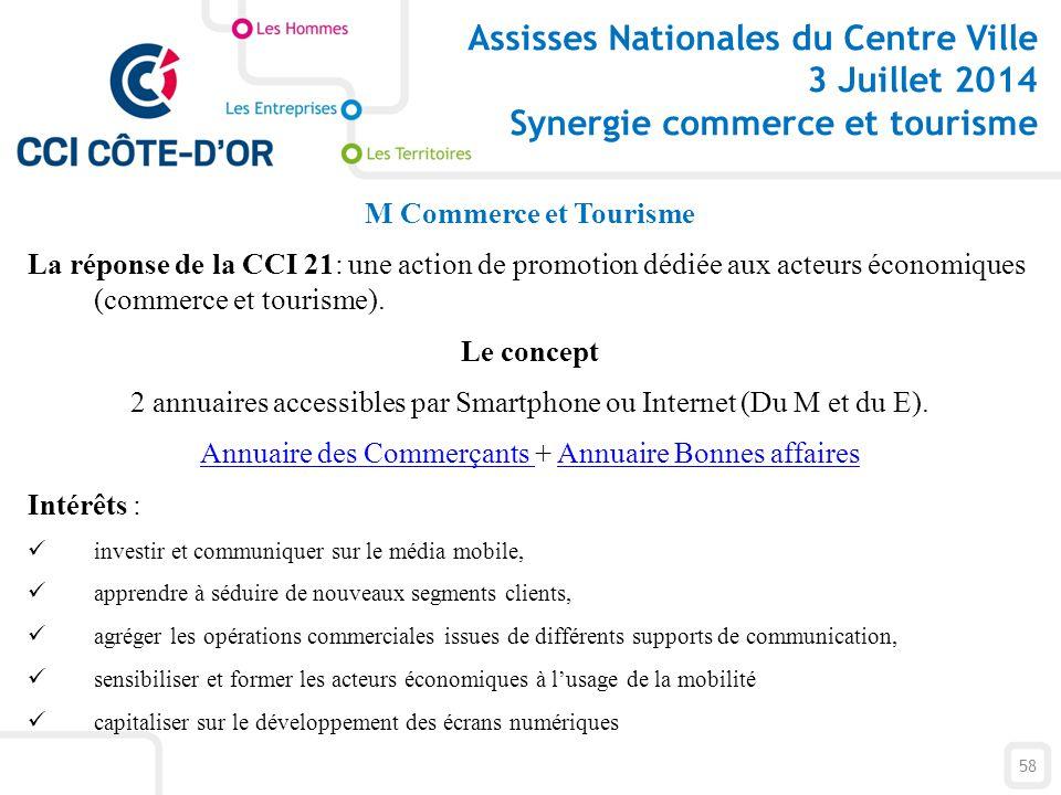 M Commerce et Tourisme La réponse de la CCI 21: une action de promotion dédiée aux acteurs économiques (commerce et tourisme). Le concept 2 annuaires