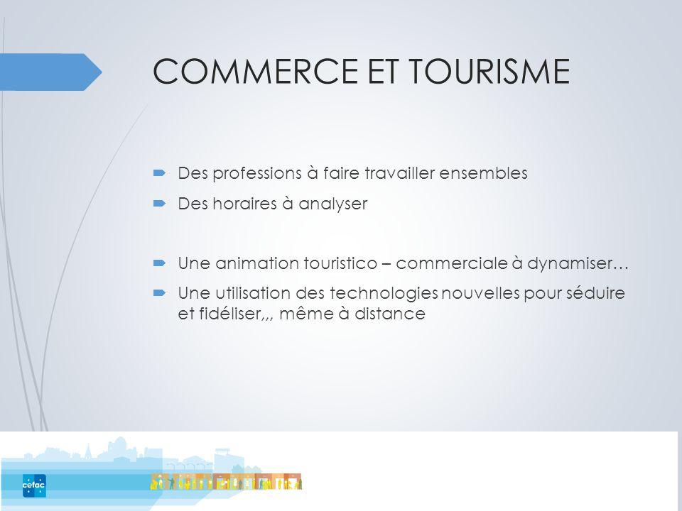 COMMERCE ET TOURISME  Des professions à faire travailler ensembles  Des horaires à analyser  Une animation touristico – commerciale à dynamiser… 