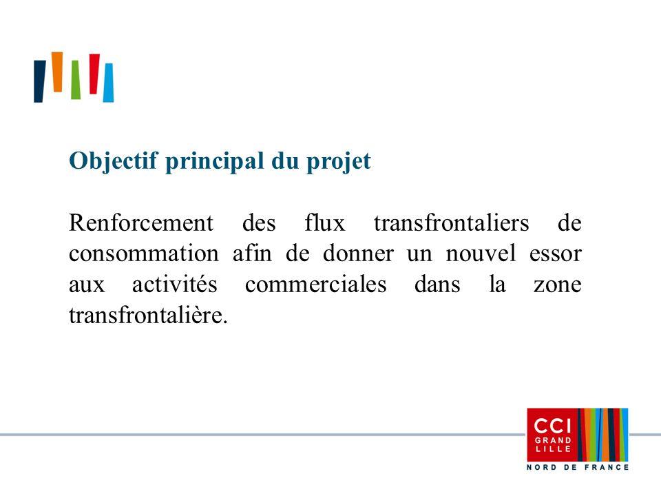 Objectif principal du projet Renforcement des flux transfrontaliers de consommation afin de donner un nouvel essor aux activités commerciales dans la