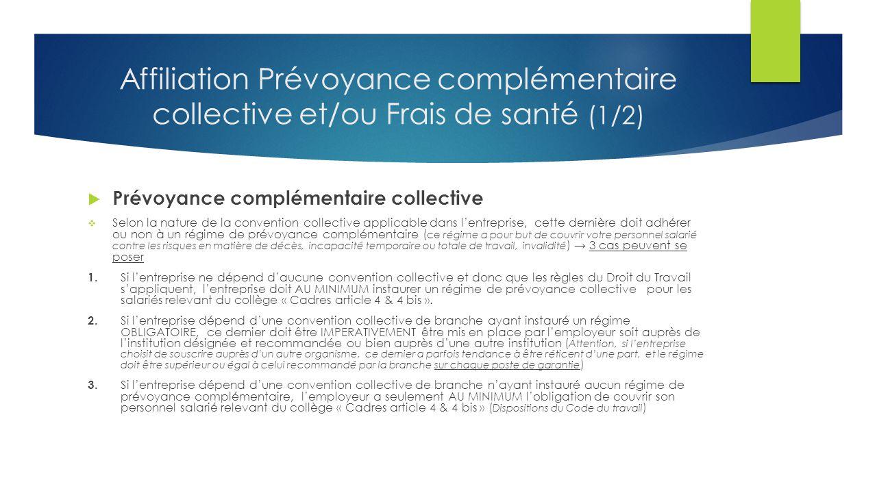 Affiliation Prévoyance complémentaire collective et/ou Frais de santé (1/2)  Prévoyance complémentaire collective  Selon la nature de la convention