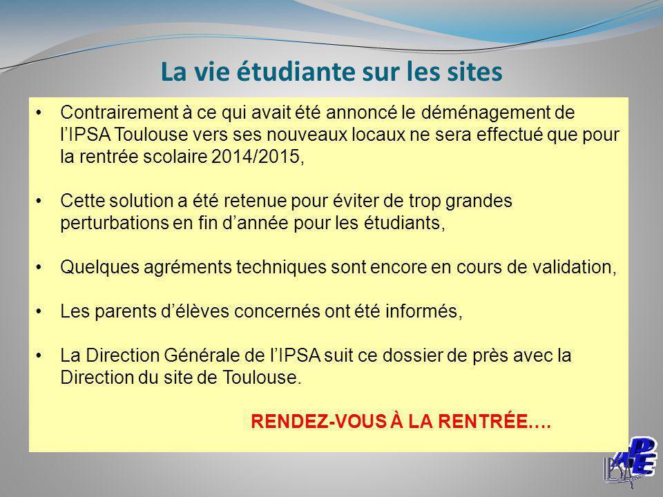 La vie étudiante sur les sites Contrairement à ce qui avait été annoncé le déménagement de l'IPSA Toulouse vers ses nouveaux locaux ne sera effectué q