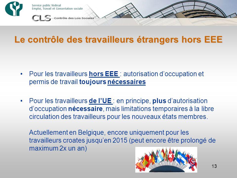 Le contrôle des travailleurs étrangers hors EEE 13 Pour les travailleurs hors EEE : autorisation d'occupation et permis de travail toujours nécessaires Pour les travailleurs de l'UE : en principe, plus d'autorisation d'occupation nécessaire, mais limitations temporaires à la libre circulation des travailleurs pour les nouveaux états membres.
