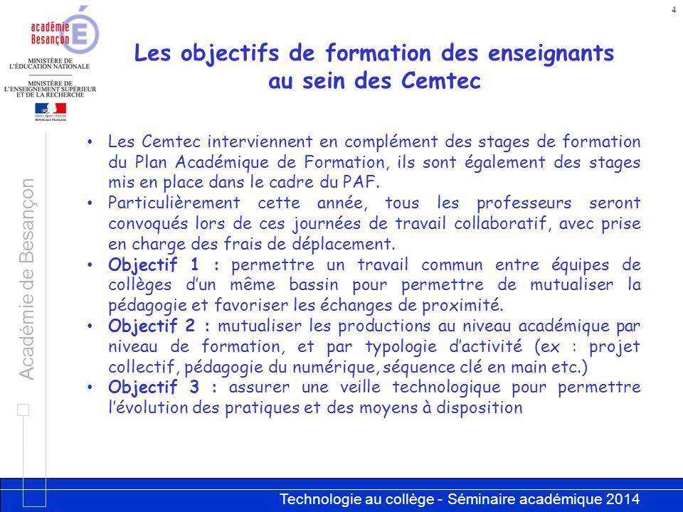 Technologie au collège - Séminaire académique 2014 Académie de Besançon 4 Les objectifs de formation des enseignants au sein des Cemtec Les Cemtec int