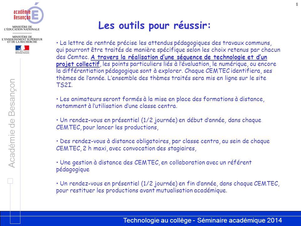 Technologie au collège - Séminaire académique 2014 Académie de Besançon 8 La lettre de rentrée précise les attendus pédagogiques des travaux communs,