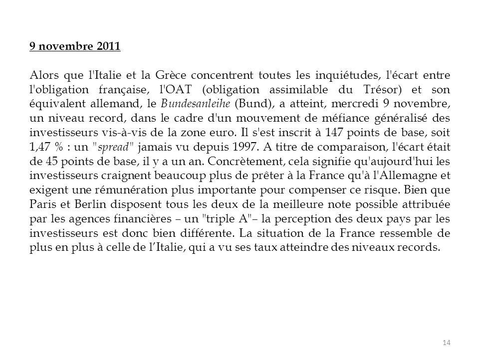 14 9 novembre 2011 Alors que l'Italie et la Grèce concentrent toutes les inquiétudes, l'écart entre l'obligation française, l'OAT (obligation assimila