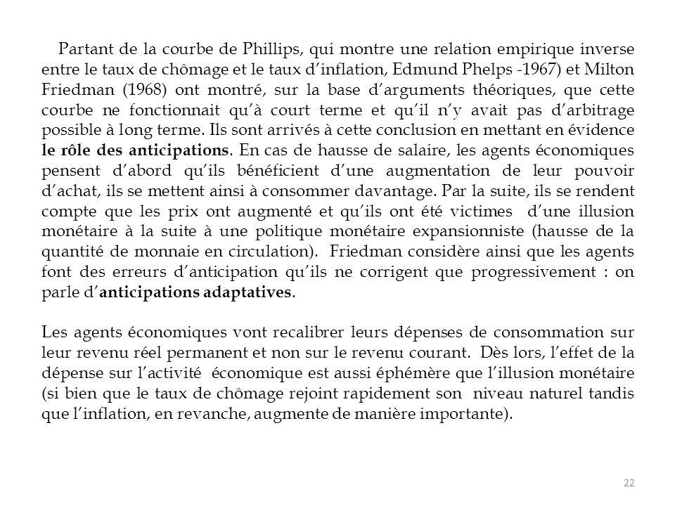 Partant de la courbe de Phillips, qui montre une relation empirique inverse entre le taux de chômage et le taux d'inflation, Edmund Phelps -1967) et M