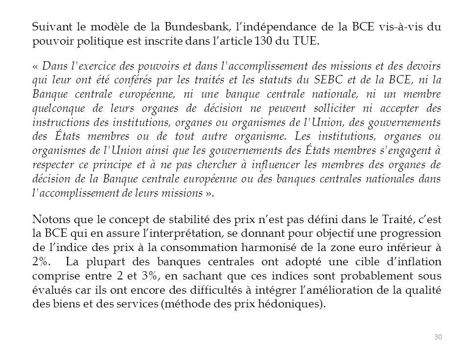 Suivant le modèle de la Bundesbank, l'indépendance de la BCE vis-à-vis du pouvoir politique est inscrite dans l'article 130 du TUE. « Dans l'exercice