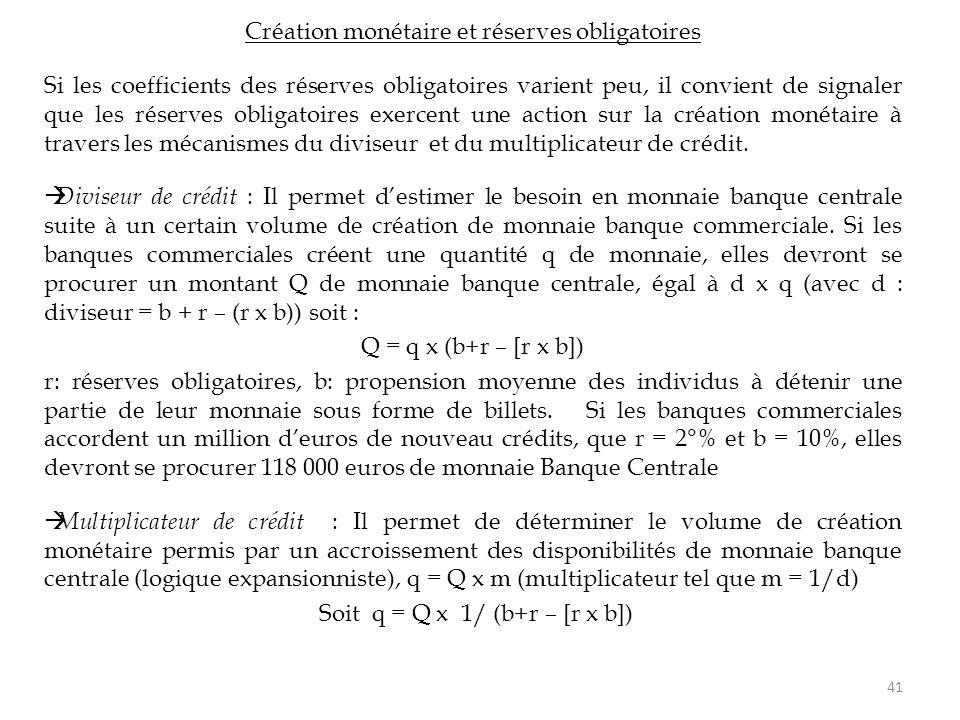 Création monétaire et réserves obligatoires Si les coefficients des réserves obligatoires varient peu, il convient de signaler que les réserves obliga
