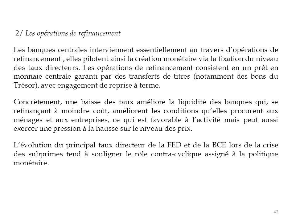 2/ Les opérations de refinancement Les banques centrales interviennent essentiellement au travers d'opérations de refinancement, elles pilotent ainsi