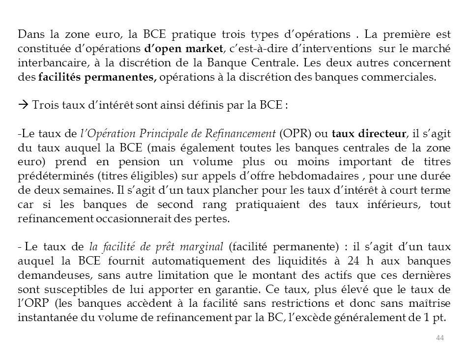 44 Dans la zone euro, la BCE pratique trois types d'opérations. La première est constituée d'opérations d'open market, c'est-à-dire d'interventions su
