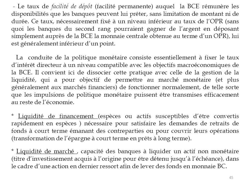 - Le taux de facilité de dépôt (facilité permanente) auquel la BCE rémunère les disponibilités que les banques peuvent lui prêter, sans limitation de