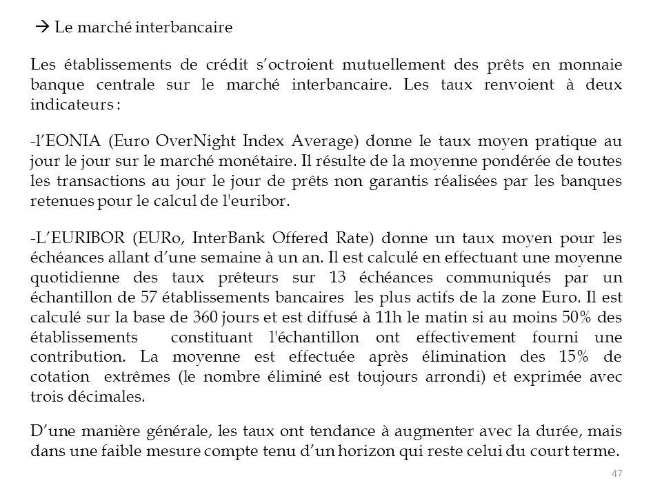  Le marché interbancaire Les établissements de crédit s'octroient mutuellement des prêts en monnaie banque centrale sur le marché interbancaire. Les