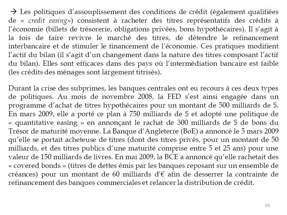  Les politiques d'assouplissement des conditions de crédit (également qualifiées de « credit easing ») consistent à racheter des titres représentatif