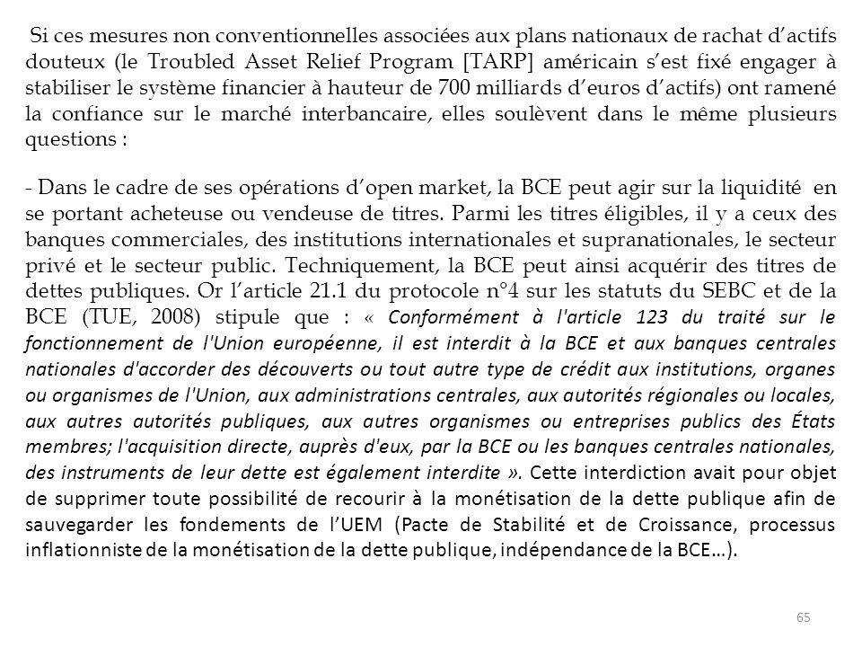 Si ces mesures non conventionnelles associées aux plans nationaux de rachat d'actifs douteux (le Troubled Asset Relief Program [TARP] américain s'est