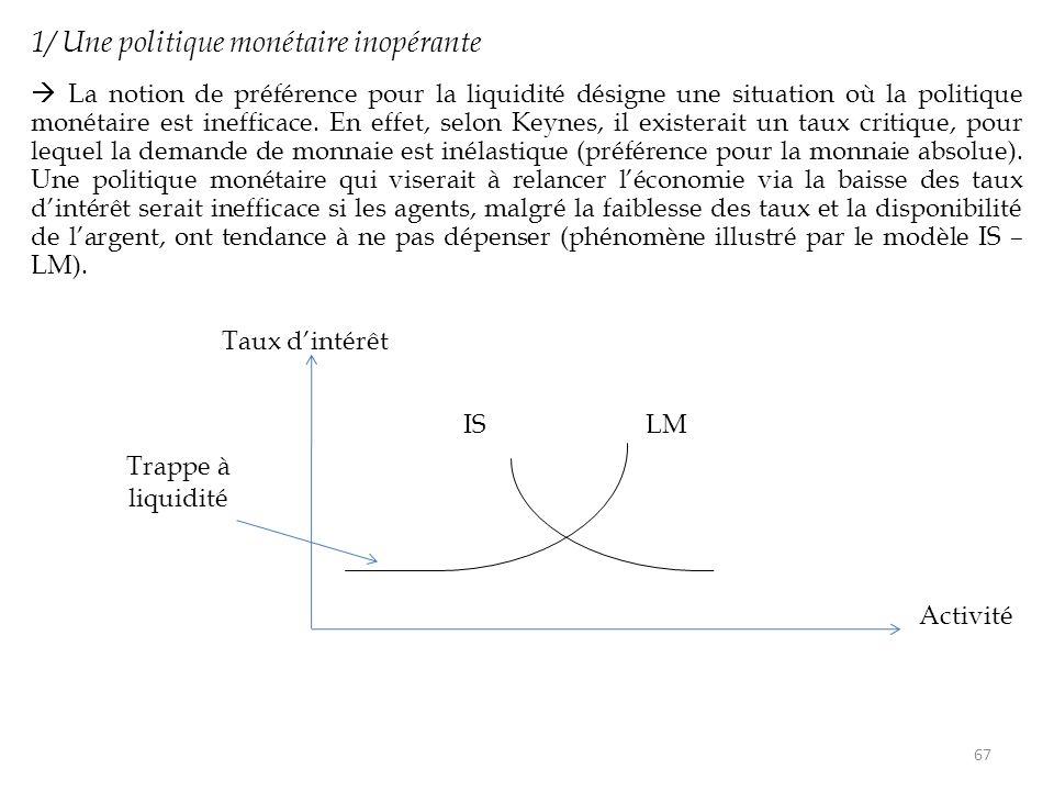 1/ Une politique monétaire inopérante  La notion de préférence pour la liquidité désigne une situation où la politique monétaire est inefficace. En e