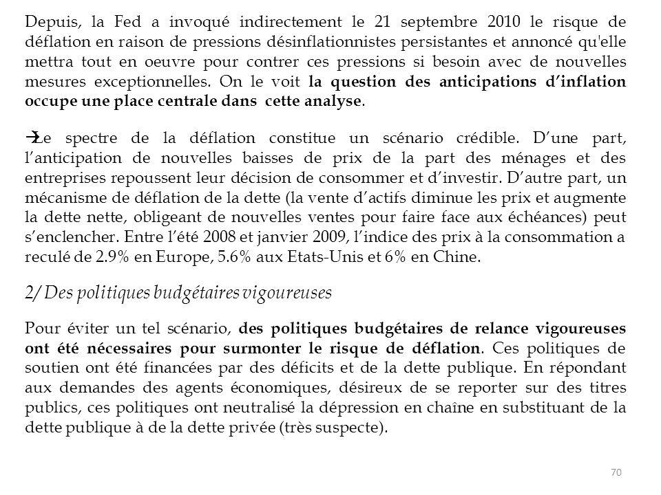 Depuis, la Fed a invoqué indirectement le 21 septembre 2010 le risque de déflation en raison de pressions désinflationnistes persistantes et annoncé q