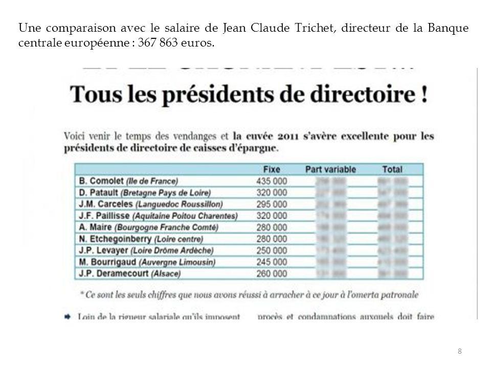 Une comparaison avec le salaire de Jean Claude Trichet, directeur de la Banque centrale européenne : 367 863 euros. 8
