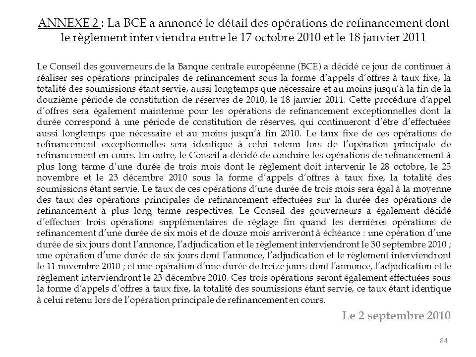 ANNEXE 2 : La BCE a annoncé le détail des opérations de refinancement dont le règlement interviendra entre le 17 octobre 2010 et le 18 janvier 2011 Le