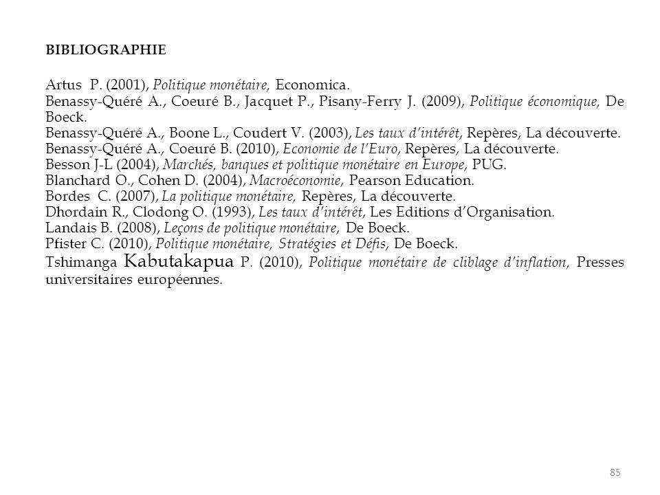 BIBLIOGRAPHIE Artus P. (2001), Politique monétaire, Economica. Benassy-Quéré A., Coeuré B., Jacquet P., Pisany-Ferry J. (2009), Politique économique,