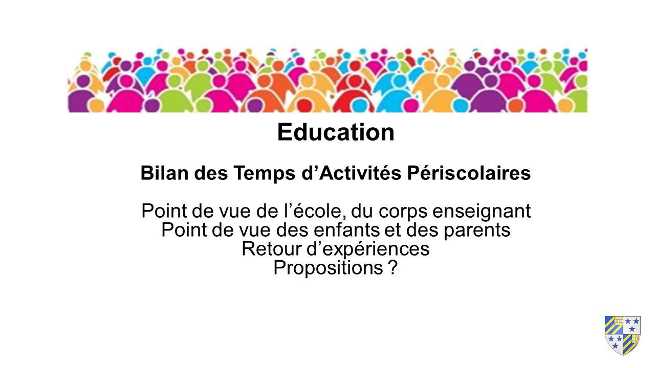 Education Bilan des Temps d'Activités Périscolaires Point de vue de l'école, du corps enseignant Point de vue des enfants et des parents Retour d'expériences Propositions