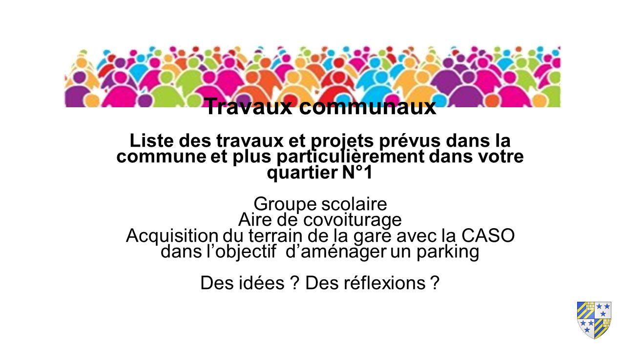 Travaux communaux Liste des travaux et projets prévus dans la commune et plus particulièrement dans votre quartier N°1 Groupe scolaire Aire de covoitu