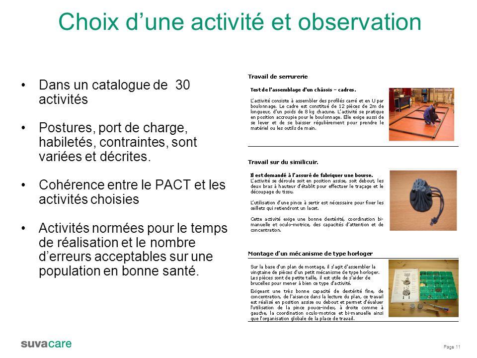 Page 11 Choix d'une activité et observation Dans un catalogue de 30 activités Postures, port de charge, habiletés, contraintes, sont variées et décrites.