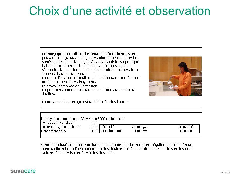Page 12 Choix d'une activité et observation