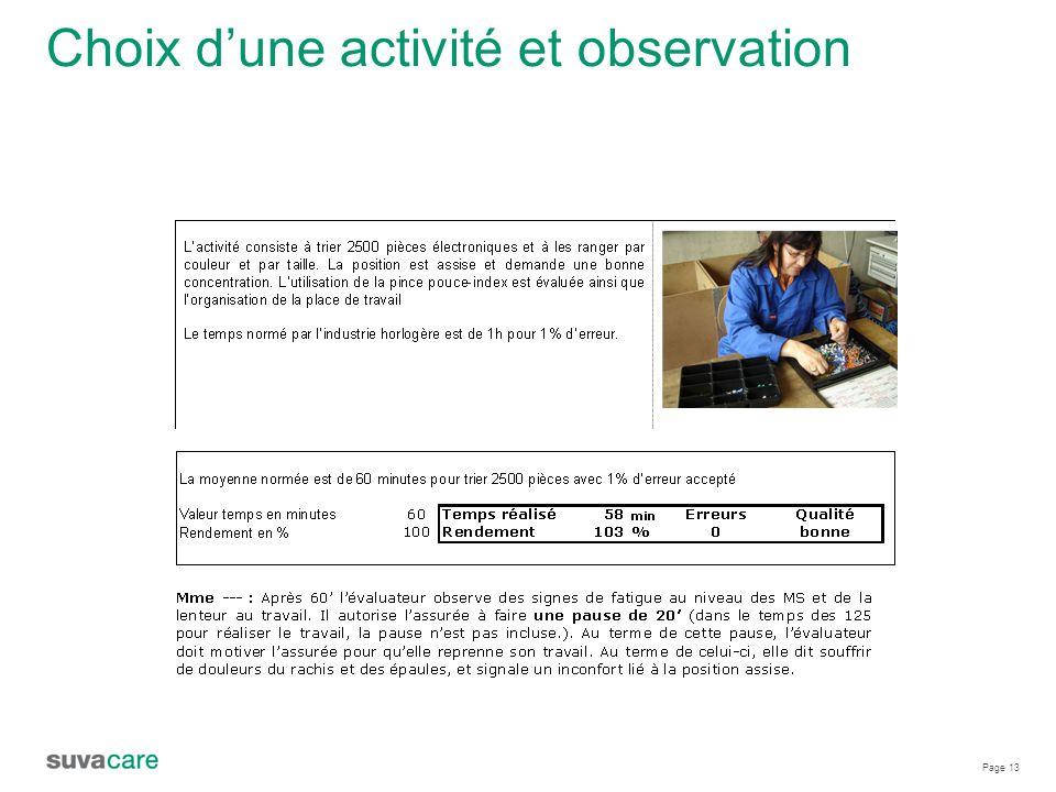 Page 13 Choix d'une activité et observation