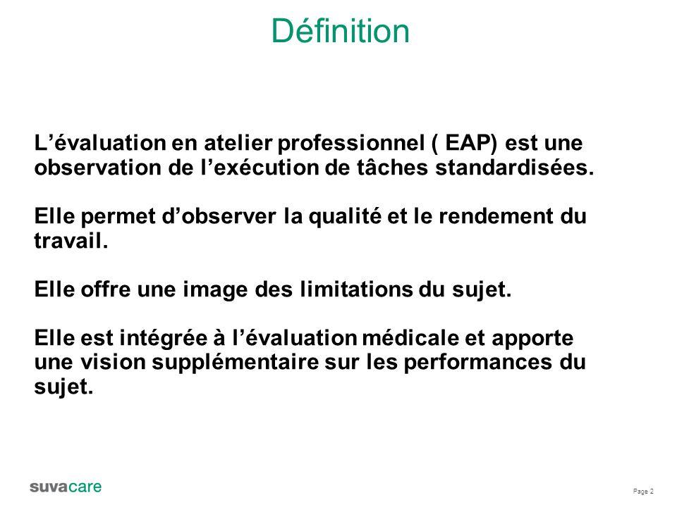 Page 2 Définition L'évaluation en atelier professionnel ( EAP) est une observation de l'exécution de tâches standardisées.