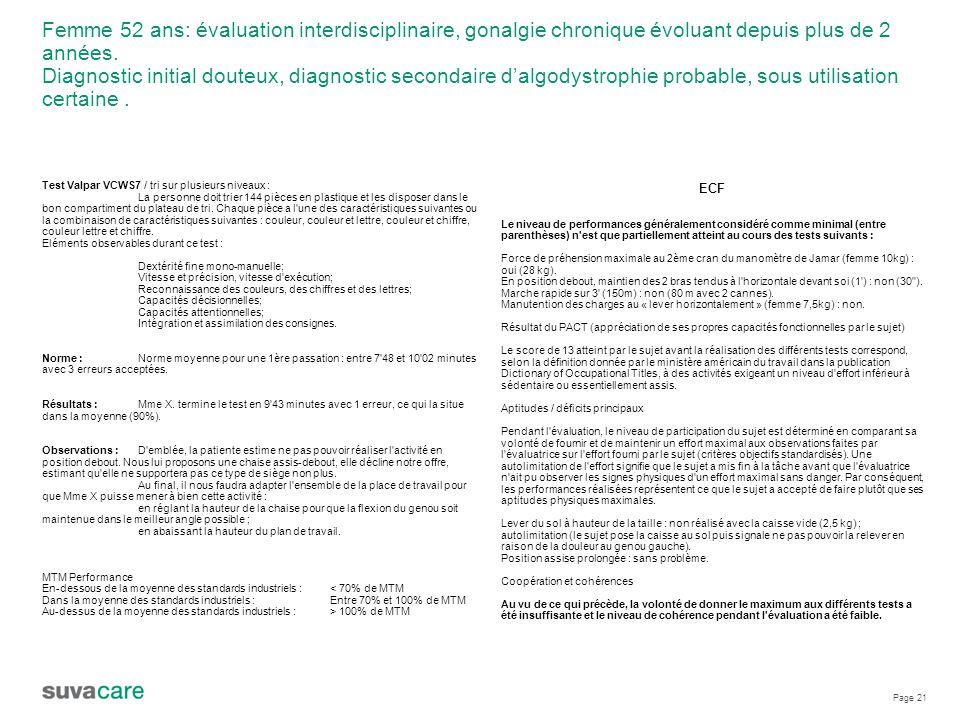 Page 21 Femme 52 ans: évaluation interdisciplinaire, gonalgie chronique évoluant depuis plus de 2 années.