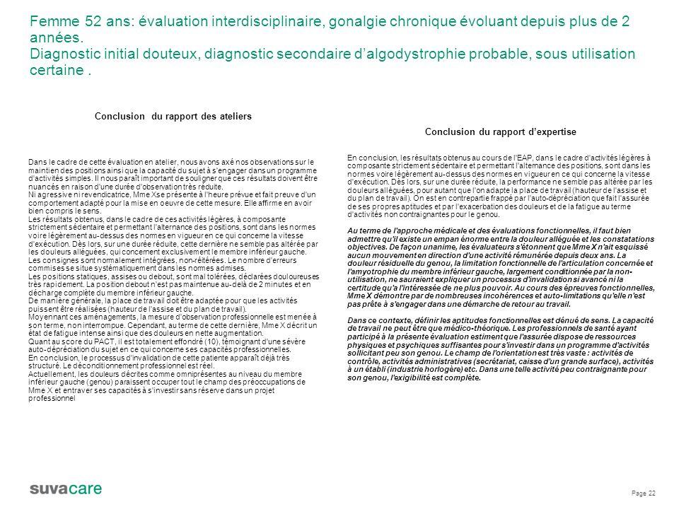Page 22 Femme 52 ans: évaluation interdisciplinaire, gonalgie chronique évoluant depuis plus de 2 années.