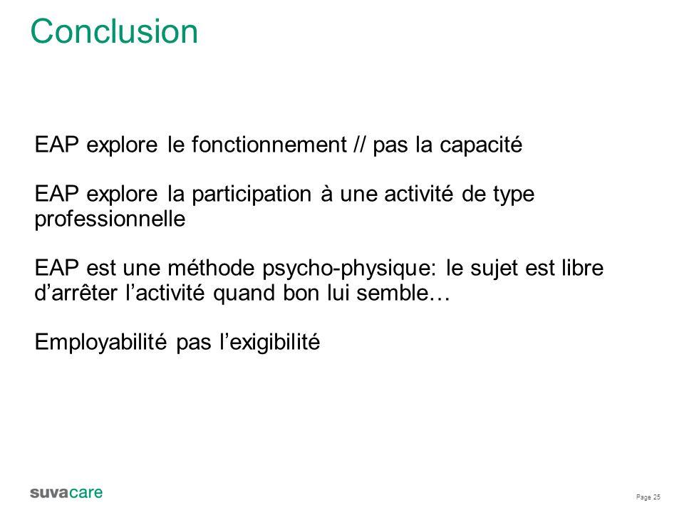 Page 25 Conclusion EAP explore le fonctionnement // pas la capacité EAP explore la participation à une activité de type professionnelle EAP est une méthode psycho-physique: le sujet est libre d'arrêter l'activité quand bon lui semble… Employabilité pas l'exigibilité