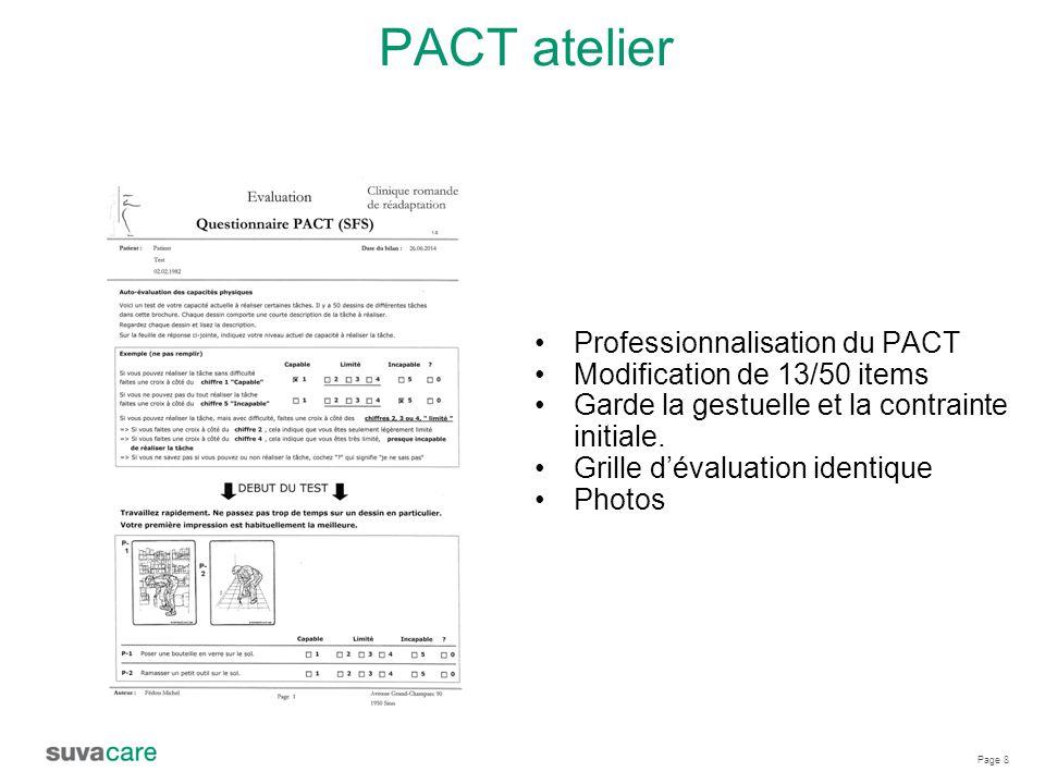 Page 8 PACT atelier Professionnalisation du PACT Modification de 13/50 items Garde la gestuelle et la contrainte initiale.