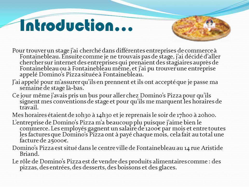 Introduction… Pour trouver un stage j'ai cherché dans différentes entreprises de commerce à Fontainebleau. Ensuite comme je ne trouvais pas de stage,