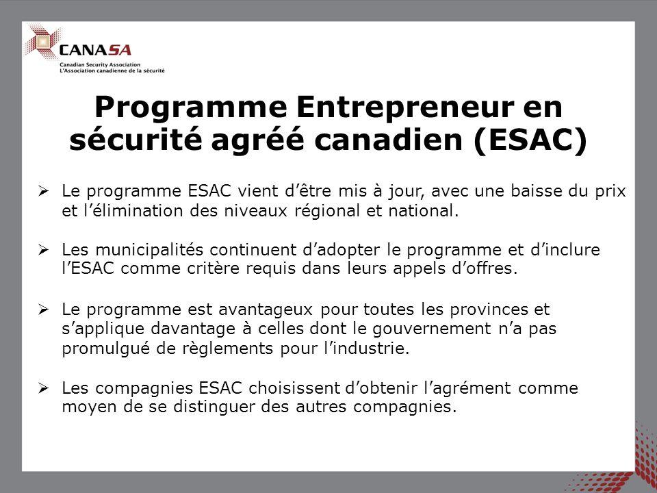  Le Cours de technicien d'alarme de la CANASA a été mis à jour et élaboré dans un format en ligne, le premier cours devant avoir lieu en janvier 2015.