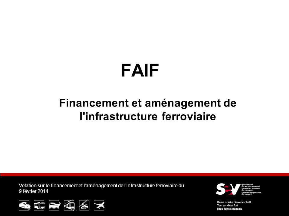 Votation sur le financement et l aménagement de l infrastructure ferroviaire du 9 février 2014 Deine starke Gewerkschaft Ton syndicat fort Il tuo forte sindacato FAIF Financement et aménagement de l infrastructure ferroviaire