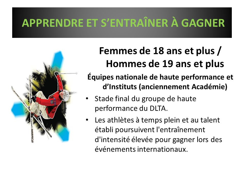 Femmes de 18 ans et plus / Hommes de 19 ans et plus Équipes nationale de haute performance et d'Instituts (anciennement Académie) Stade final du groupe de haute performance du DLTA.