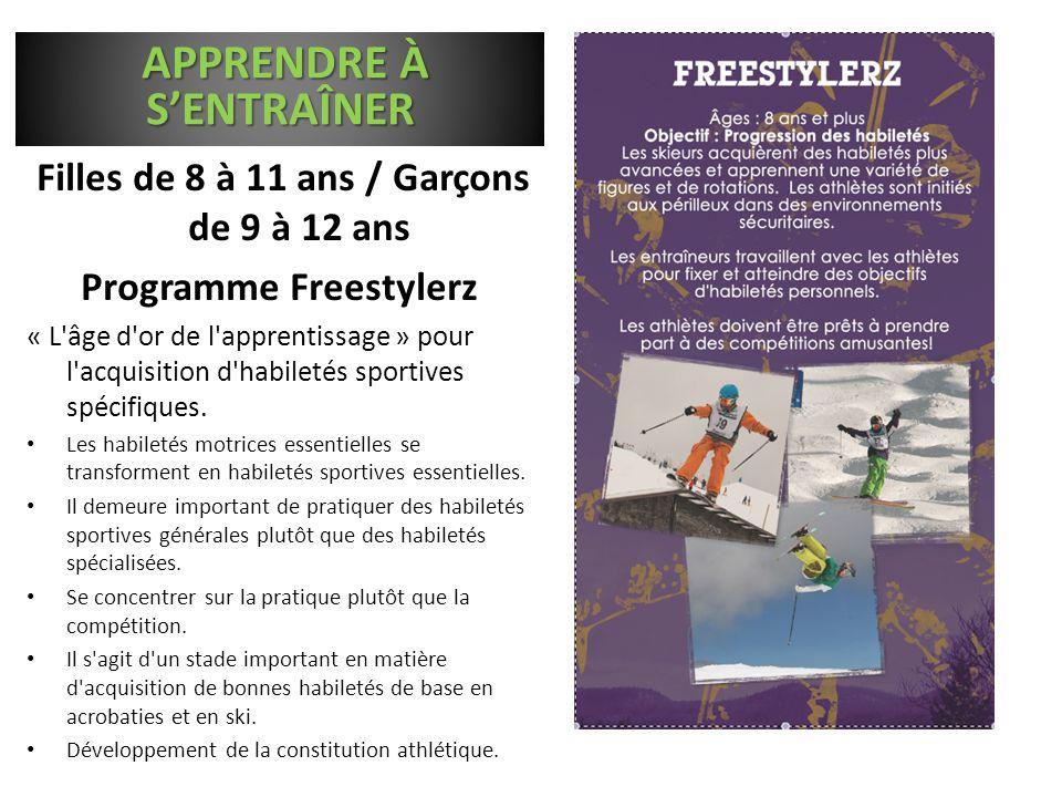 Filles de 8 à 11 ans / Garçons de 9 à 12 ans Programme Freestylerz « L'âge d'or de l'apprentissage » pour l'acquisition d'habiletés sportives spécifiq