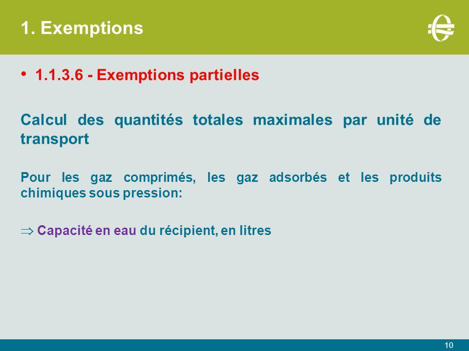 1. Exemptions 1.1.3.6 - Exemptions partielles Calcul des quantités totales maximales par unité de transport Pour les gaz comprimés, les gaz adsorbés e