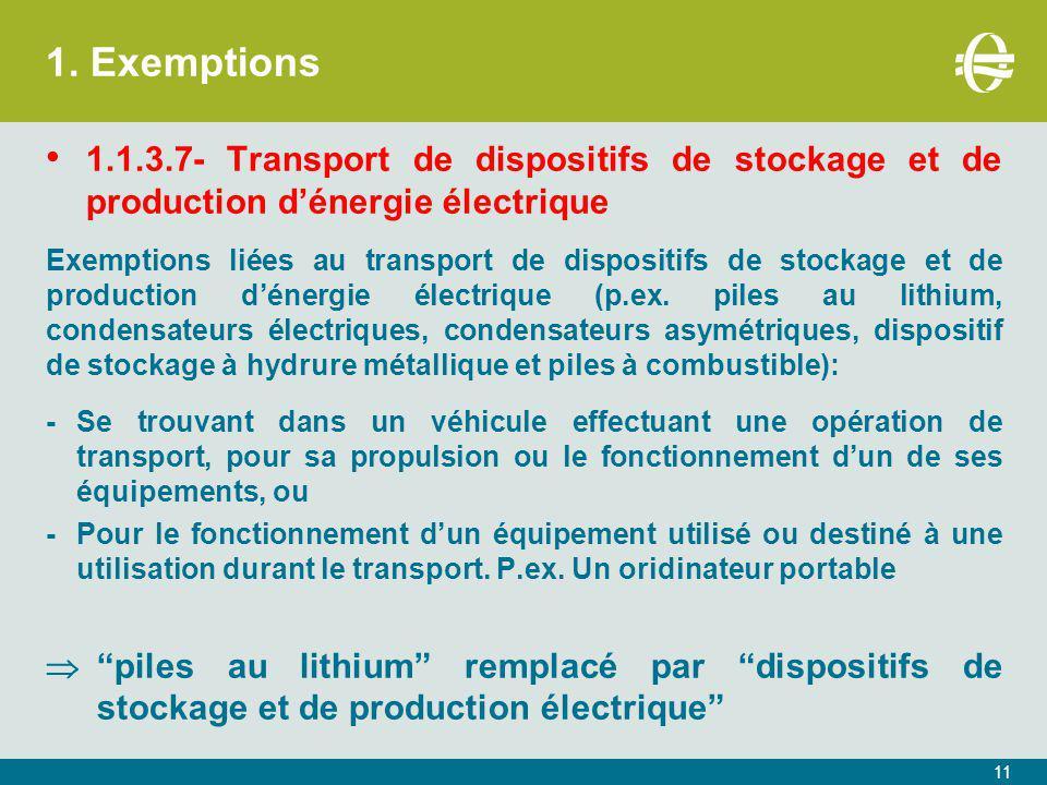 1. Exemptions 1.1.3.7- Transport de dispositifs de stockage et de production d'énergie électrique Exemptions liées au transport de dispositifs de stoc